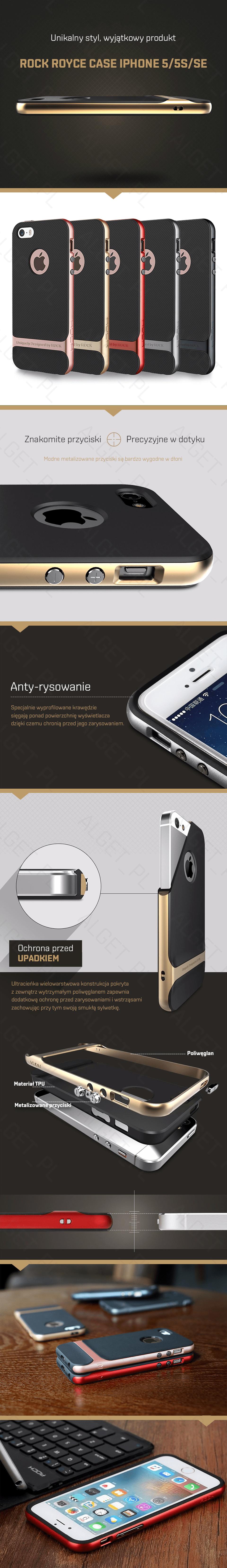 ROCK ROYCE Etui Obudowa PREMIUM iPhone 5 5S SE