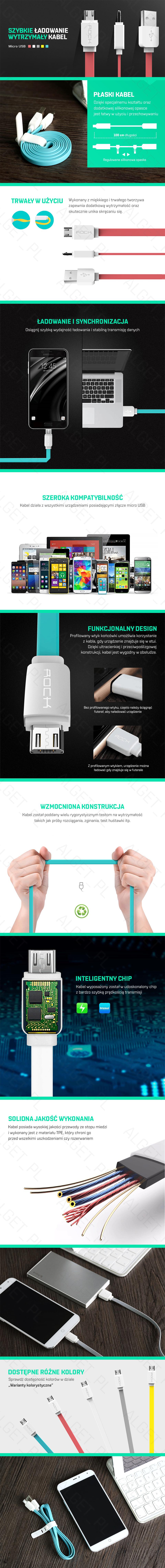 Kabel ROCK Micro USB Ładowarka NOKIA SAMSUNG SONY 100cm