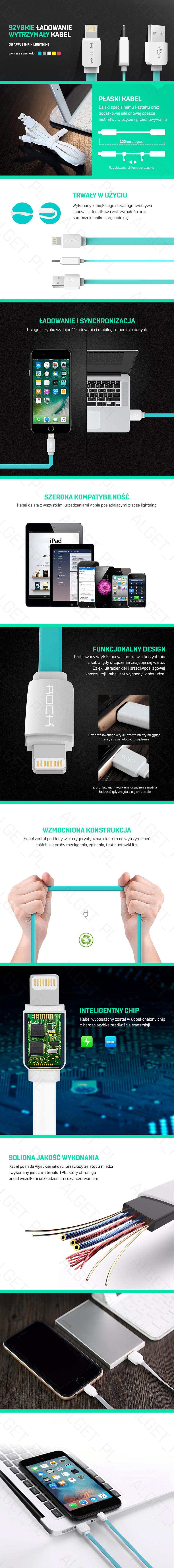Kabel USB ROCK Ładowarka do iPhone 5 6 7 iPad 2.1A 100cm
