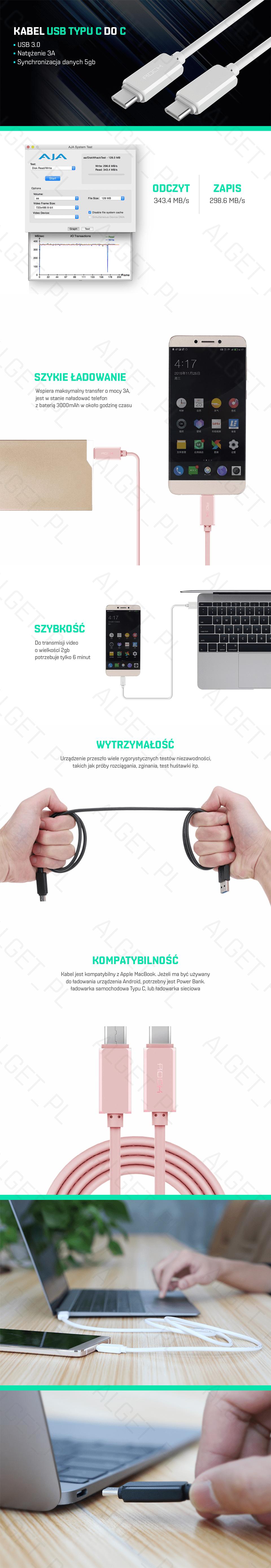 Kabel USB-C ROCK Ładowarka NOKIA MACBOOK HUAWEI 3A