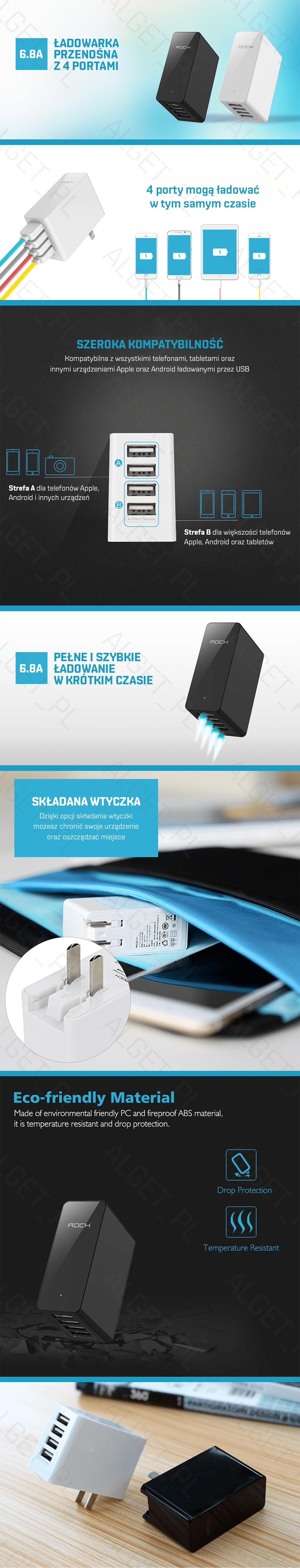 ROCK Ładowarka Sieciowa Zasilacz 4x USB 6.8A 34W